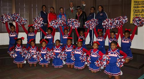 Cheerleaders and Mr. & Mrs. Gordon D. Bush