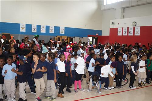 Bush Elementary students enjoy music by the Air Force Rock Band