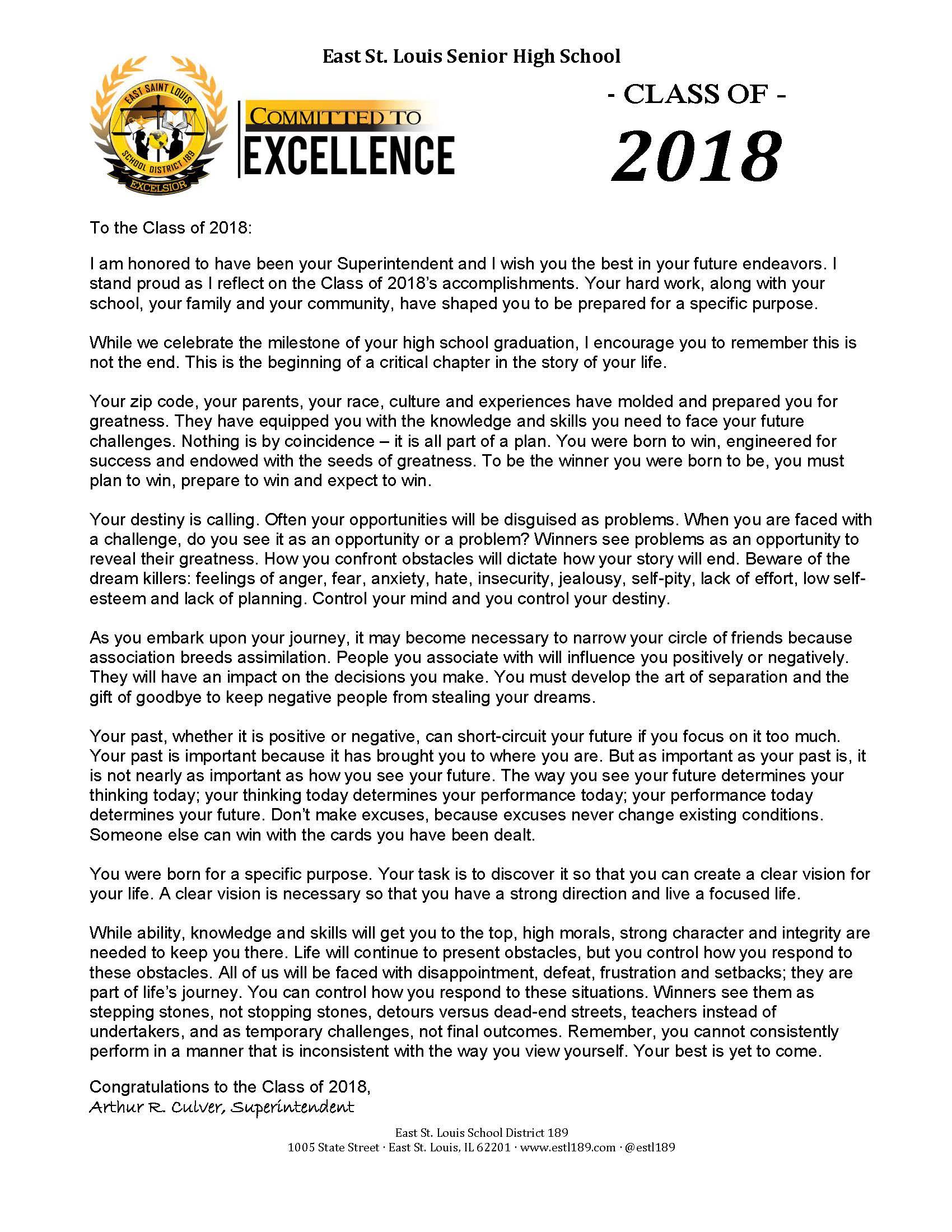 Graduation Message to Class of 2018
